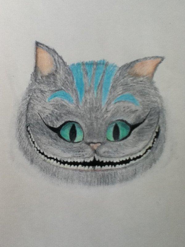 Tim Burton's Cheshire cat au crayon de cire