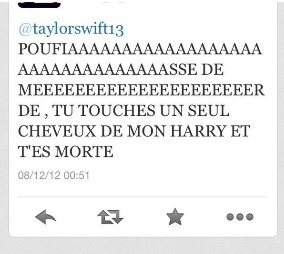 taylor recoit une menace d'une groupie !!