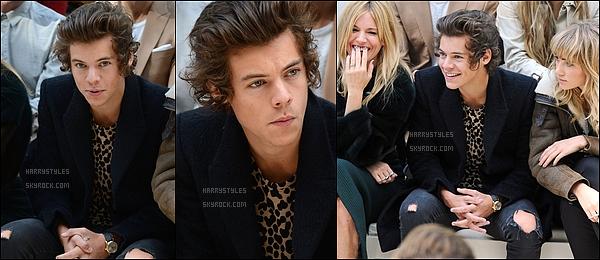 - 16/09/13 : Harry Styles était présent a la London Fashion Week à Londres , avec des amis. J'aime beaucoup sa tenue qui est classe, vraiment c'est un gros top pour Harry je trouve qu'il est vraiment magnifique sur les photos.  -