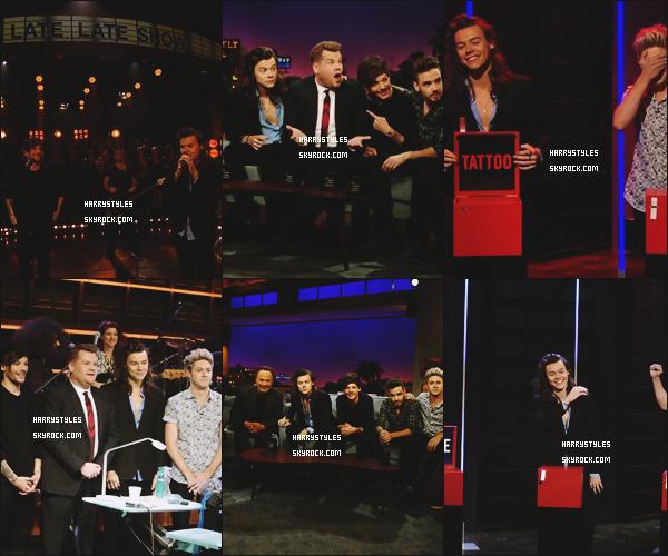 03.12.2015 - Monsieur Styles et le reste du groupe été invités pour le Late Late Show, axu USA ! Un nouveau top pour H. Monsieur Styles a perdu le tirage de tatouage et il  adu donc s'offrir un nouveau tatouage et oui.. Avis ?