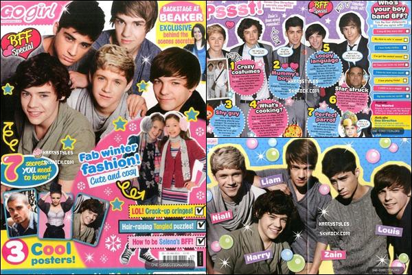 """Les boys font la couverture du magazine britannique """"Go Girl"""" ! Ce magazine est paru le 5 Janvier et sera retiré le 25 Janvier 2011. Trois pages disponibles sur les boys."""