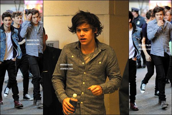 26.11.2012 - Harry Styles a été aperçu avec les boys arrivant au studio de MTV. Pour la tenue c'est un top. J'aime beaucoup sa chemise en jean. Il a vraiment un super look.