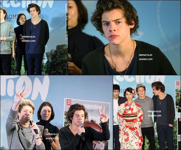 18/01/13 : H. Styles a assisté à une émission ou plutôt une Press Conference organisée au Japon ! Les boys ont parlé longuement de leurs expériences chacun, de l'album. Les photos sont très belle je trouve un top.