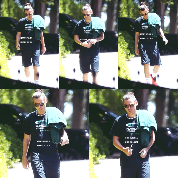 11.05.2015 - Harry a été aperçu encore et une fois de plus seul dans les rues de la ville de  Los Angeles ! Pour la tenue j'aime bien c'est une sortie de Monsieur tout le monde et ça lui va plutôt bien. Harry lave tes cheveux on voit que c'est du  gras.