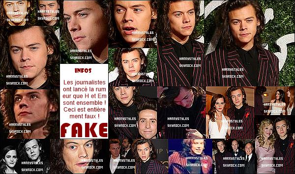 """- 1/12/14 : Harry Styles  a été assisté sans les garçons aux """"British Fashion Awards"""" - en Angleterre. Le jeune homme a remis cette fois ci un prix à la belle Emma Watson ! Il a d'ailleurs pu revoir son """"ex petit amie""""  Kendall Jenner. Top la tenue. -"""