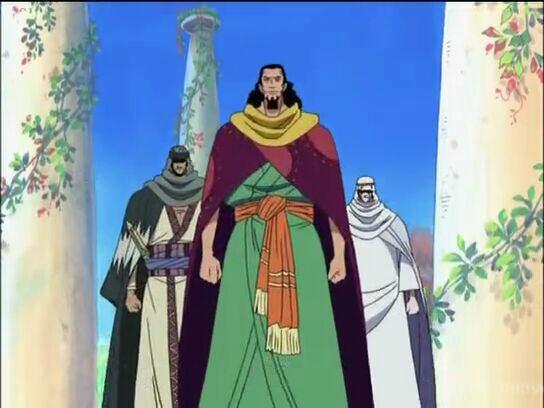 Nefertari Cobra, Chaka, Pell, Nefertari Vivi & Igaram 6 ans avant l'ellipse lors du Conseil des Rois (Flashback) - Arc Drum