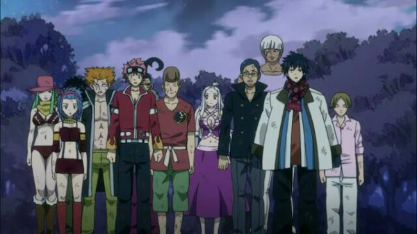 Edo-Jet, Edo-Droy, Edo-Wakaba, Lisanna Strauss, Natsu Draguion (Edo-Natsu), Edo-Nab, Edo-Biska, Edo-Reby, Edo-Mirajane, Edo-Macao, Edo-Elfman, Grey Soluge (Edo-Grey), Edo-Max, Lucy Ashley (Edo-Lucy), Edo-Cana, Edo-Jubia, Edo-Readers & Edo-Wendy - Arc Edolas