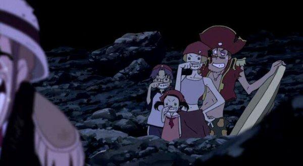 Papa, Rosa (fille aînée), Rick (fils) & Daisy (fille cadette) (Pirates Tearoom) - Film 06, Le Baron Omatsuri & l'île aux secrets