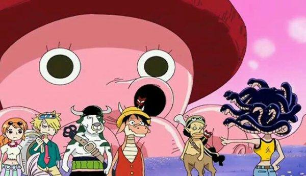 Monkey D. Luffy (Lugyao), Roronoa Zoro (Zoromilk), Nami (Stronami), Usopp (Ussopaka), Sanji (Sangara), Chopper (Chopaken) & Nico Robin (Rodusa) - Le petit théâtre du Chapeau de Paille (Monster Time)