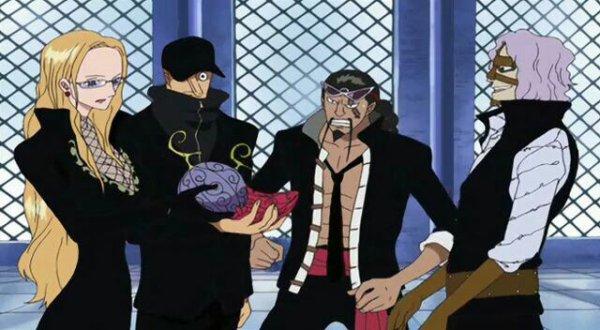 Rob Lucci (+ Hattori), Kaku, Kalifa, Blueno, Jabura & Spandam (Flashback où Kaku & Kalifa reçoivent leur Fruit du Démon) - Arc Enies Lobby