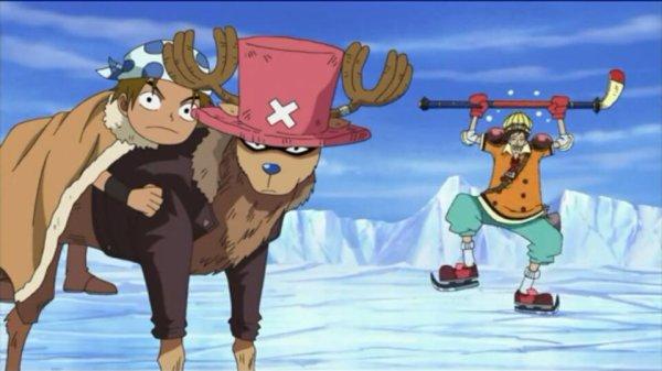 Monkey D. Luffy, Nami, Sanji, Chopper, Puzzle, Jiro, Campacino, Brindo (ou Brined), Arbell, Hockera & Salchow - Arc Ice Hunters