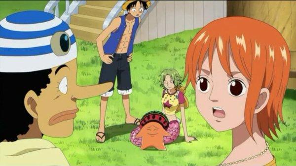Keimi (ou Camie) & Pappug + Monkey D. Luffy, Nami, Usopp & Sanji - Arc Duval