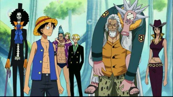 Silvers Rayleigh & Shakuyaku (ou Shakky) + Monkey D. Luffy, Sanji, Nico Robin, Franky, Brook, Octo, Keimi & Pappug (+ Duval) - Arc Archipel Sabaody