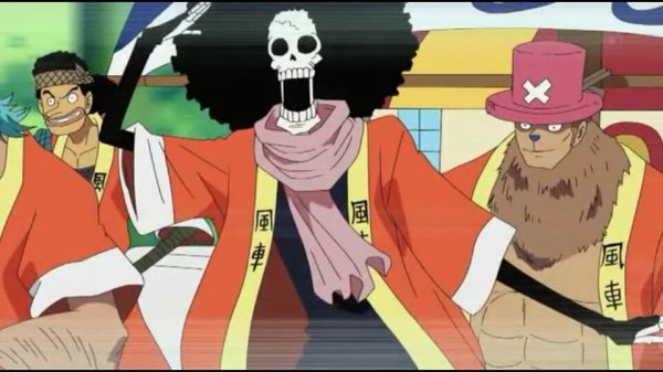 Monkey D. Luffy, Roronoa Zoro, Usopp, Sanji, Chopper, Franky & Brook - Episodes fillers 406 & 407, Le retour du Boss Luffy