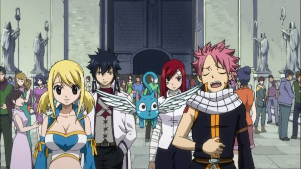 Natsu Dragnir, Happy, Lucy Heartfilia, Grey Fullbuster, Erza Scarlet, Wendy Marvel & Carla - Arc Grand Tournoi des jeux inter-magiques