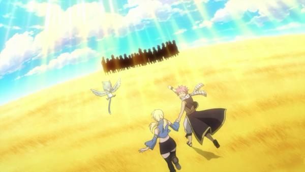 Natsu Dragnir du futur, Lucy Heartfilia du futur & Happy du futur - Arc Eclipse (futur suite à la destruction du portail Eclipse dans le présent)