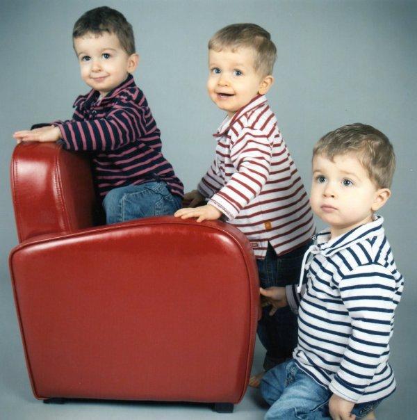 Janvier 2013 : Ylan, Alex et Léo 2 ans