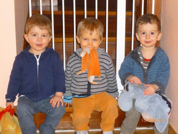 10 avril 2013 : Léo, Alex et Ylan 27 mois