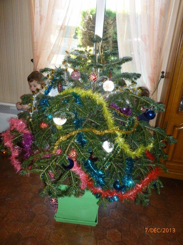 7 décembre 2013 : Notre beau sapin chez Papi et Mamie Michel et Marité qu'on a fait tout seul