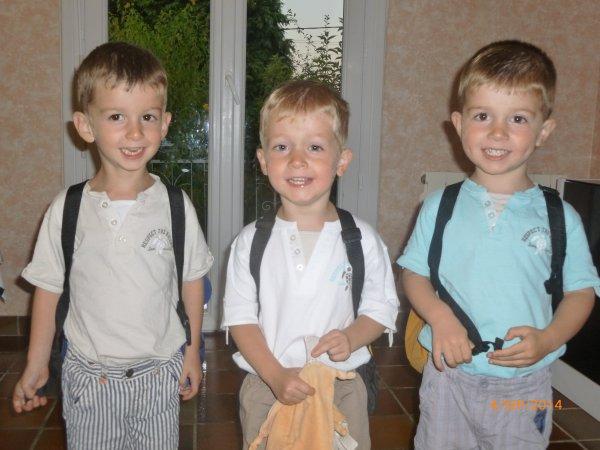 4 septembre 2014 : Rentrée en PS, Ylan, Alex et Léo, 3 ans et 9 mois