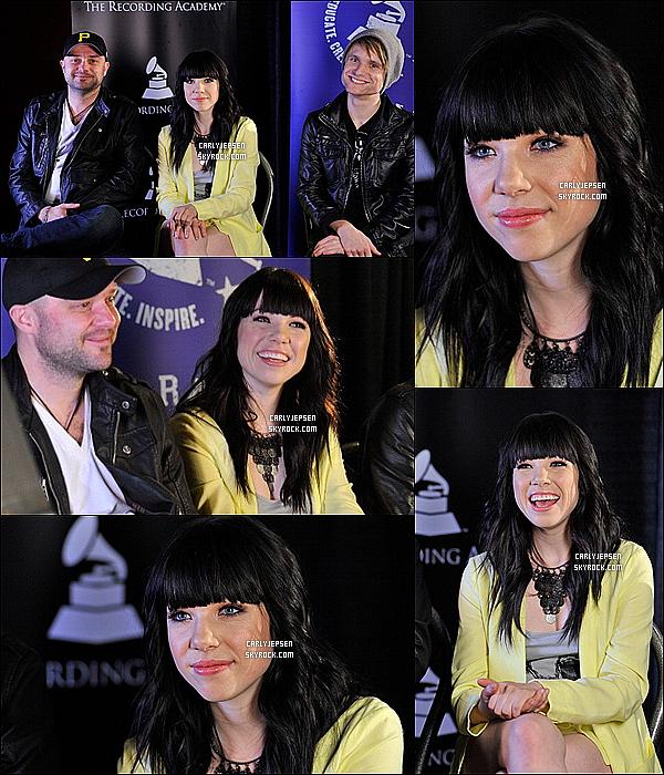 .  18 Janvier 2013 : Carly Rae Jepsen à été apercu aux Grammy's SOUND.CHEKTS. ( Nashville ) .