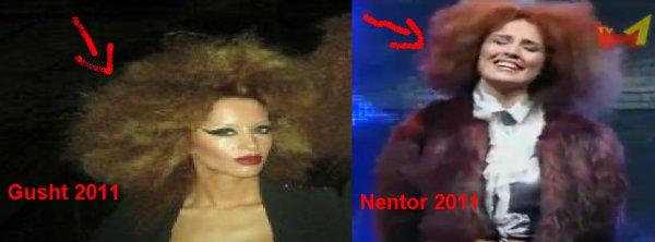 Genta Ismajli kopjon Dafina Zeqirin ( në modelin e flokëve )