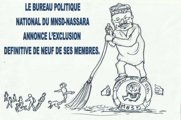 LE BUREAU POLITIQUE  NATIONAL DU MNSD-NASSARA  ANNONCE L'EXCLUSION  DEFINITIVE DE NEUF DE SES MEMBRES.