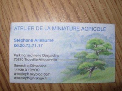 Zoom sur la carte de visite de l'atelier de la miniature à Trouville Alliquerville