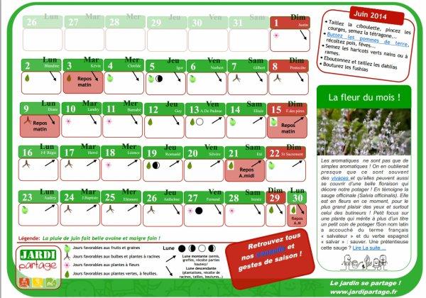calendrier lunaire juin 2014