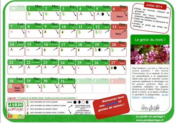 calendrier lunaire juillet 2014