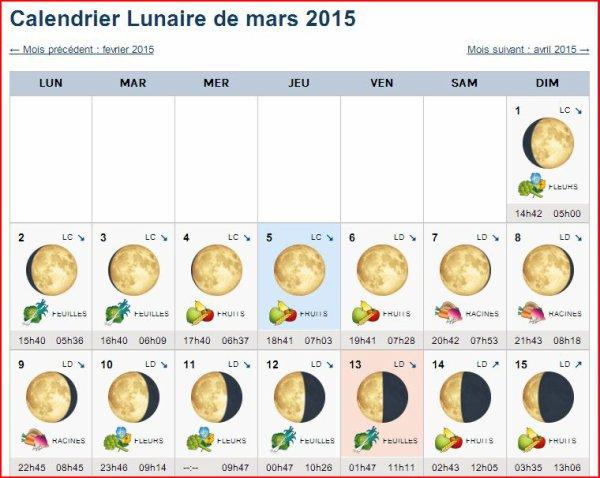 Calendrier Lunaire de mars 2015