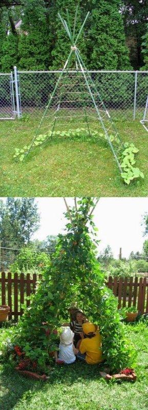créer un tipi à haricots pour les enfants dans le jardin