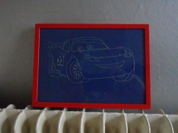 cars gravé sur verre