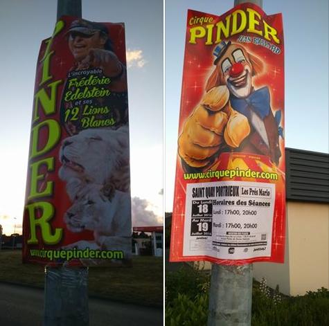 LES NOUVELLES QUILLES DE PINDER ! Voici les toutes nouvelles quilles en carton du Cirque Pinder pour la tournée d'été, avec les dates de St Quay Portrieux (Côtes-d'Armor). (Jérémie Cholet).