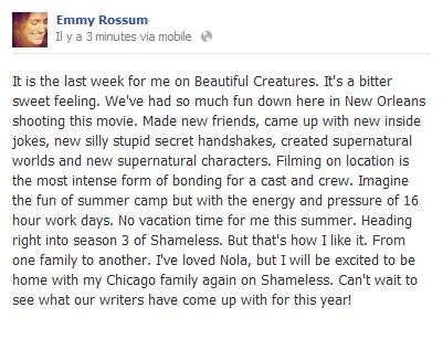 ■ [ Emmy Rossum ]  Message d'Emmy à propos du film