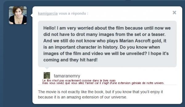 ■ [ Film ]  Marian, absente du film?