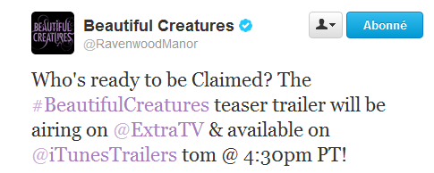 ■ [ Sublimes Créatures ]  La Bande-annonce du film sera diffusée aujourd'hui !