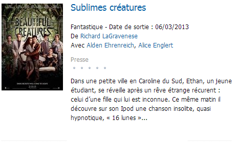 ■ [ Sublimes Créatures ]  Dixième film le plus attendu sur Allociné