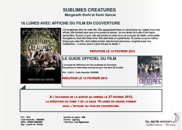 ■ [ Sublimes Créatures ]  Parutions autour de la saga des Enchanteurs en France