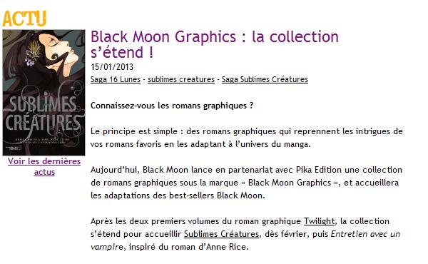 ■ [ Sublimes Créatures ]  Black Moon Graphics sortira le roman graphique de 16 Lunes