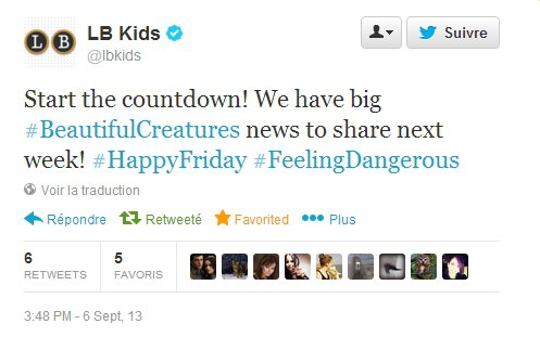 ■ [ Sublimes Créatures ]  Little Brown annonce une grande nouvelle à venir !