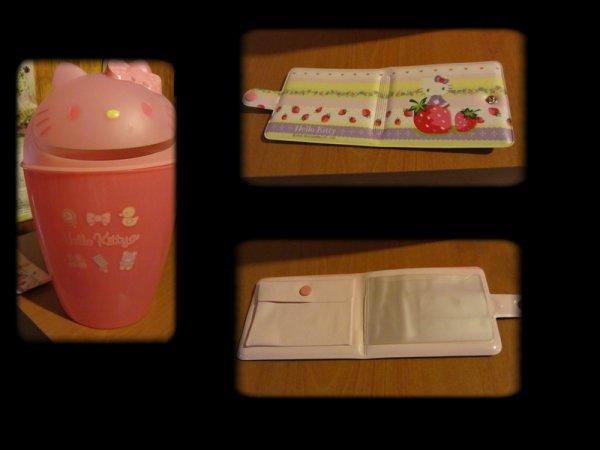Ma poubelle hello kitty et mon porte carte fraise :p j'adore !!!