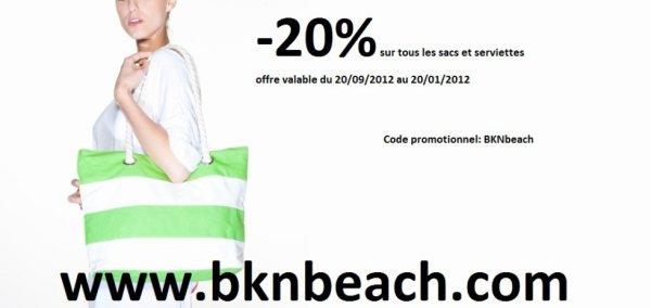Réduction de 20% sur tous nos sacs et serviettes