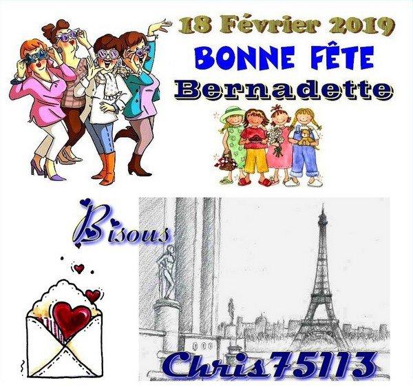 -- En ce 18 Février, c'est ♥♥ La Sainte Bernadette ♥♥ -- Bonne Fête à Toutes les Bernadette --