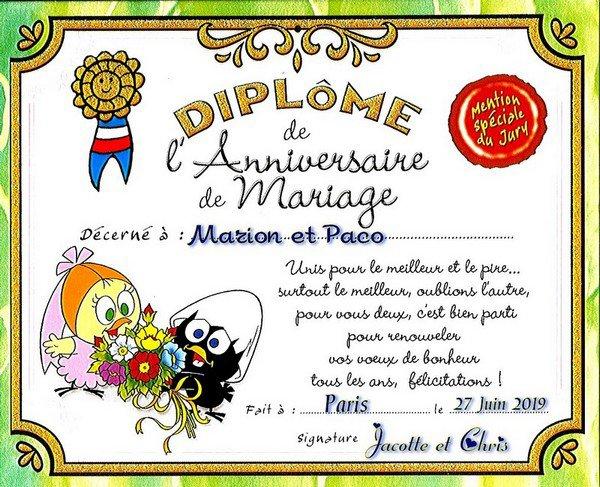 -- 27 Juin 2019 -- Anniversaire de Mariage de Marion et Paco --