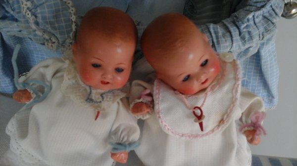 Je vous montre de plus près mes jumeaux Armand Marseille de 12CM...Deux amours !