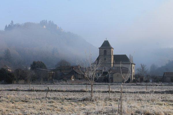 Matin givré dans l'Aveyron