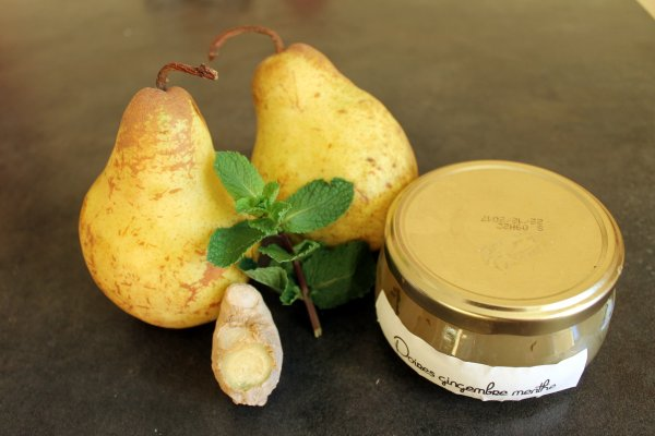 Confiture poire menthe gingembre