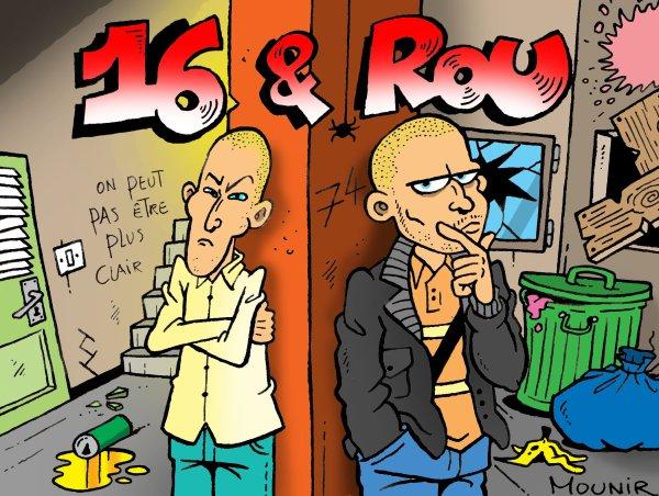 Les Rappeurs 16 & Rou caricaturés par Mounir