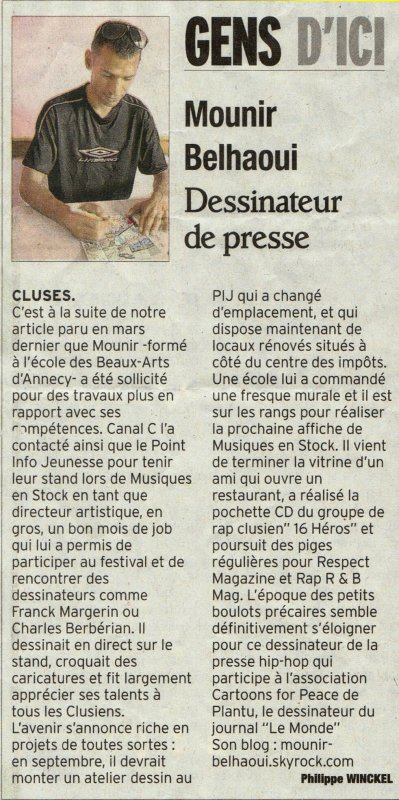 Article de Mounir paru dans le dauphiné du 12/08/12